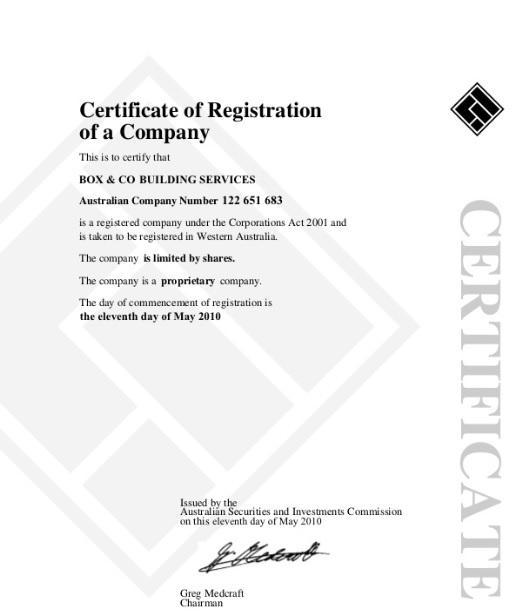 Регистрационный документ BoxChain