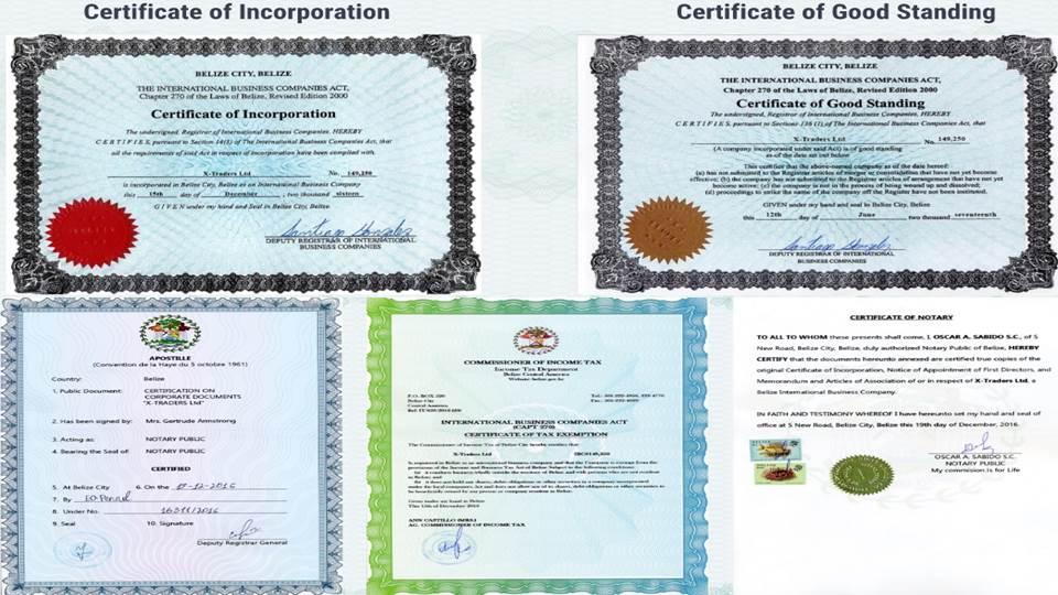 Регистрационные документы X-Traders