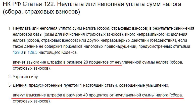 ст. 122 нк рф